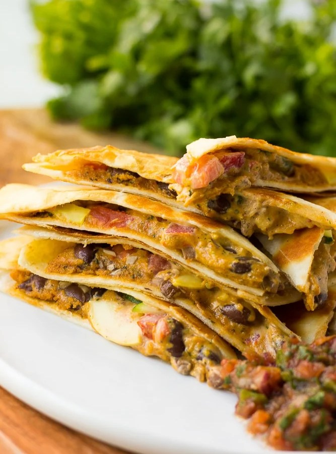 Cheesy Vegan Quesadillas with Black Beans and Vegetables