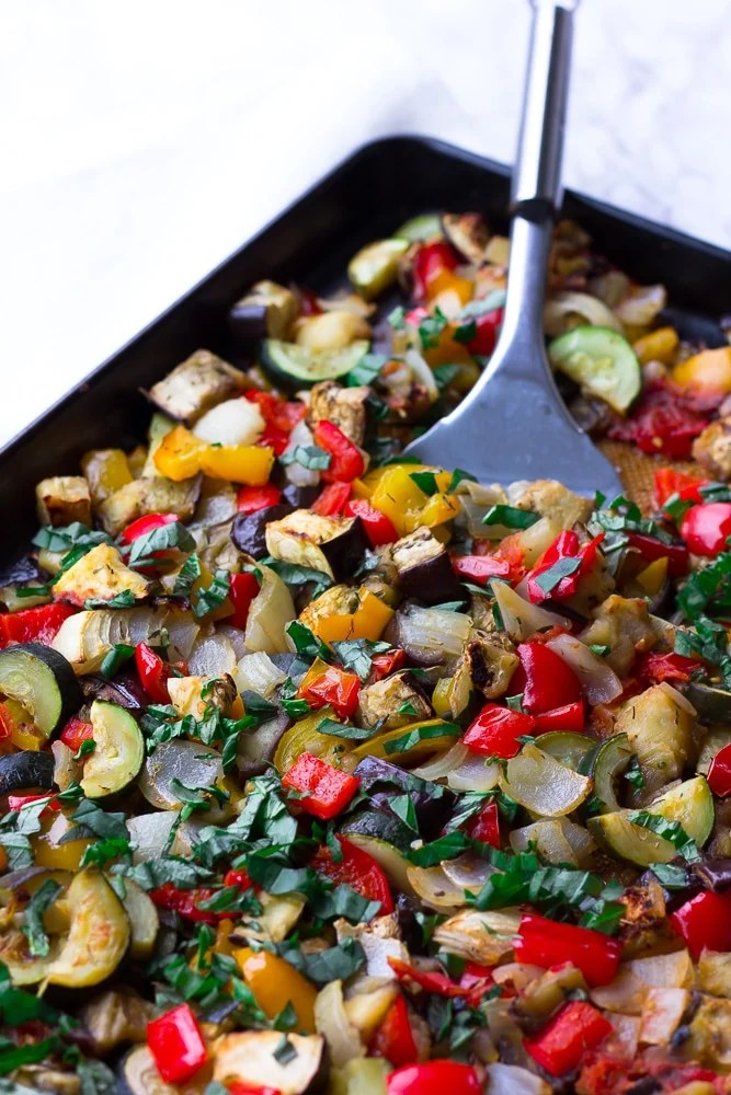 roasted ratatouille in a pan