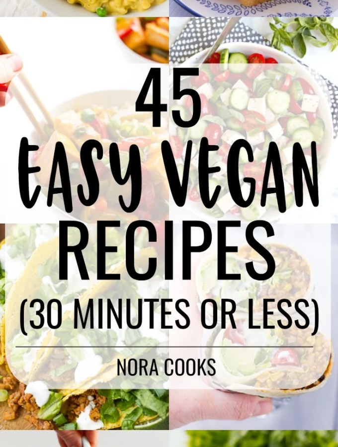 large collage of easy vegan recipes to pin