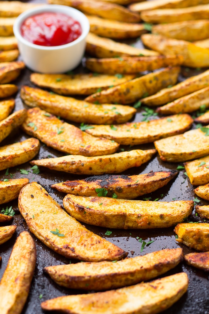 oven roasted potato wedges on pan