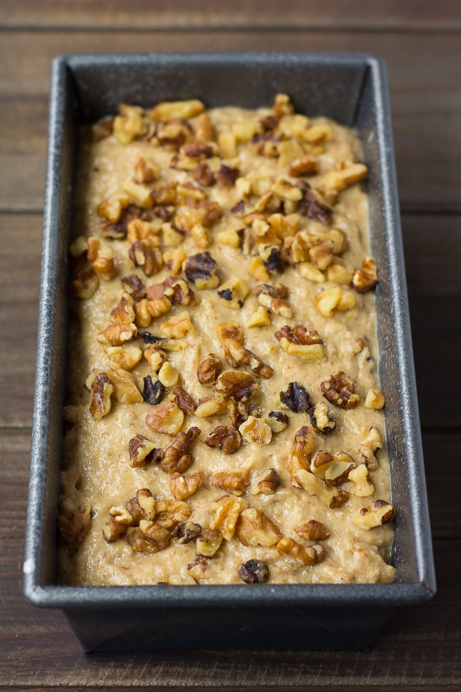 vegan banana bread batter in pan