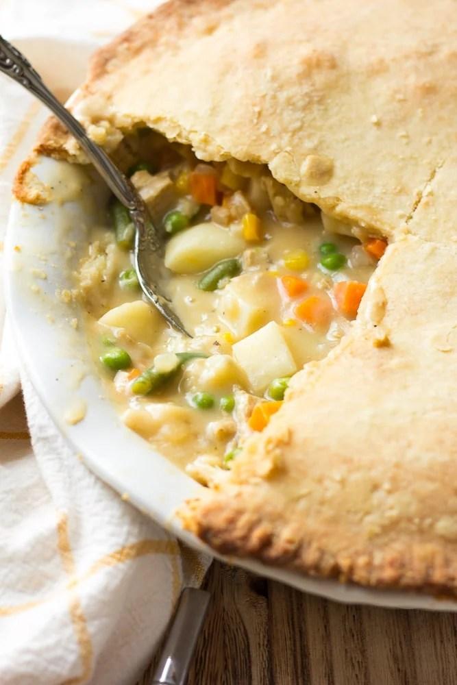 vegan pot pie in pan