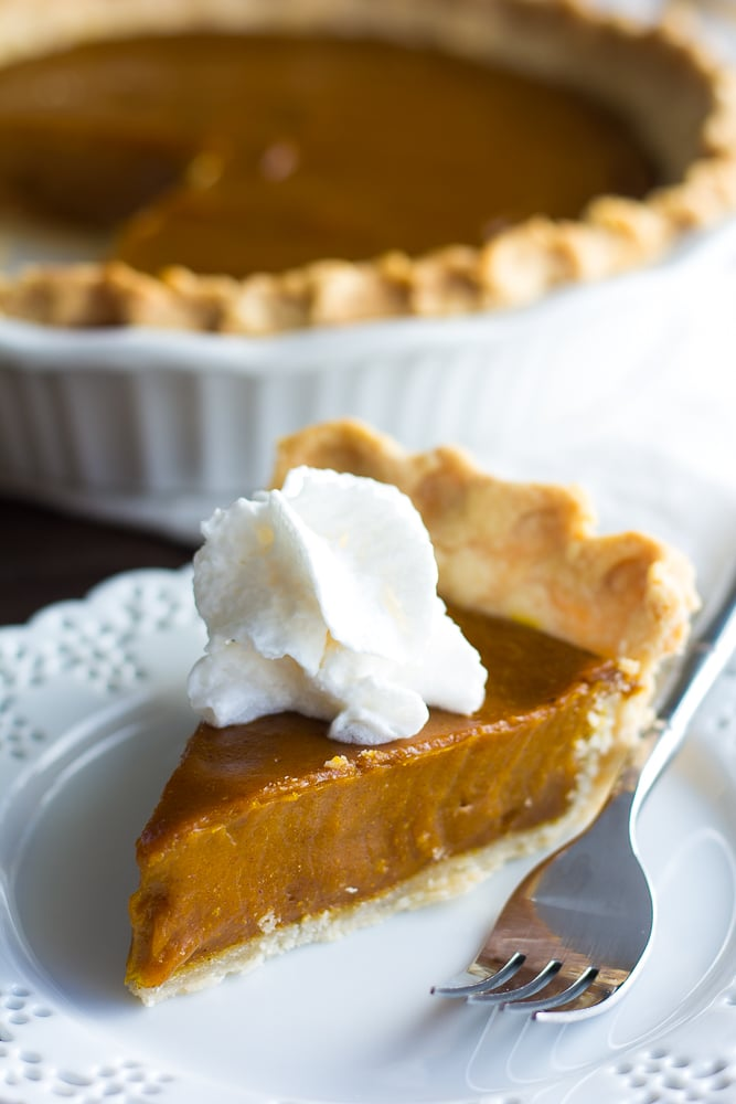 piece of vegan pumpkin pie on a plate