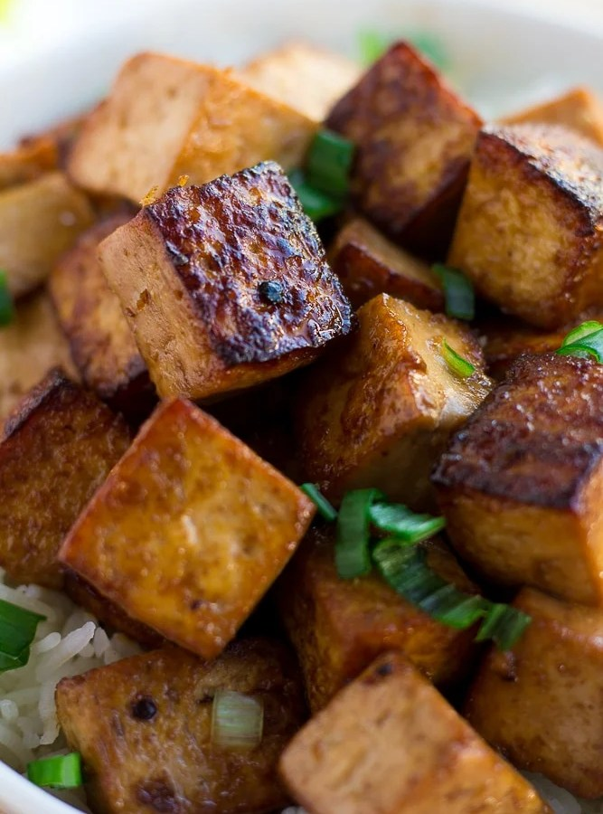 marinated tofu in a bowl close up