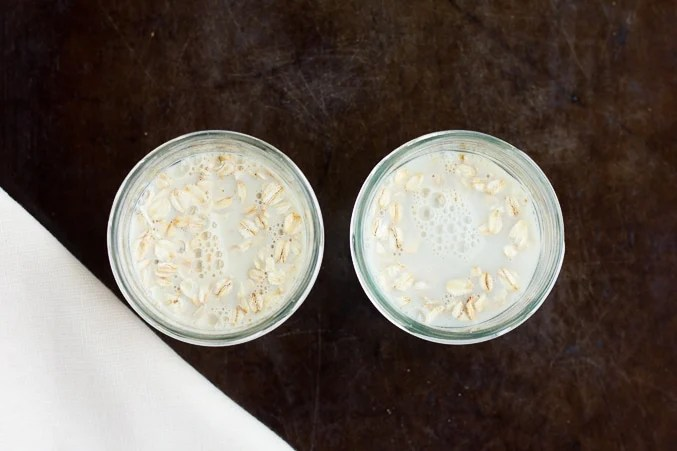 non-dairy milk in jars with oats