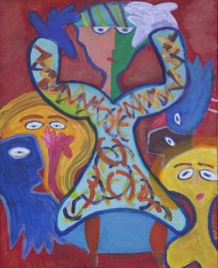433, Vrouw in Blauwe Jurk, 2017, 80 x 100, acryl, 550,-