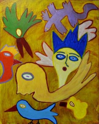 310 De verloving, 2001, 100 x 80, acryl, 550,-