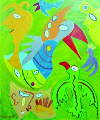 328 De verdwaalde phoenix, 2001, 120 x 100, acryl, 750,-