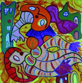 352 Vrouw in Calosa, 2002, 90 x 90, acryl