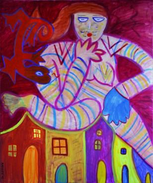 373 Zwevende vrouw 2, 2003, 120 x 100, acryl