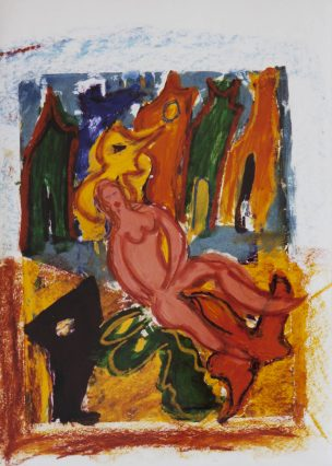 114 Woman with her Animals, 1997, 63 x 73