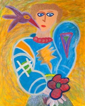 235 Vrouw met Bloem, 2000, 80 x 100 cm, acryl