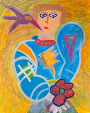 235 Vrouw met Bloem, 2000, 80 x 100 cm, acryl, 550,-