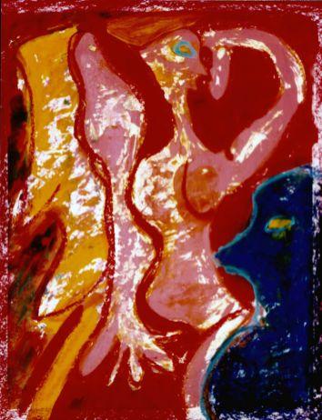 110 Zittend Naakt 1, 1997, 63 x 73, mixed, gemengd, 350,-
