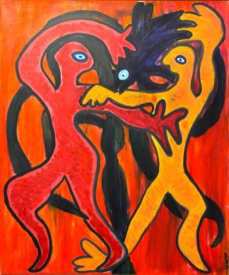 131 Dansen rond Boom, 1997 100 x 120, olie, 750,-
