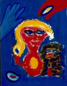 143 Vrouw met Vogels 2, 1997, 83 x 63 mixed, 400,-