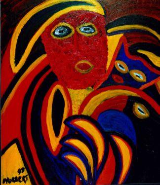 167 Masker 3, 1998 70 x 60 olie/acryl, 350,-