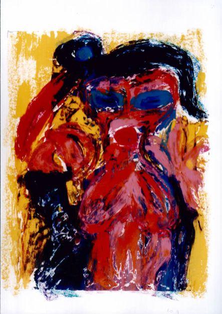 95 Vrouw met Vogel, 1997, 68 x 83. gemengd, 400,-