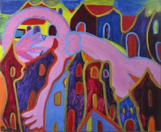 102 De Zwevende Vrouw, 1997 100 x 120, olie, 750,-
