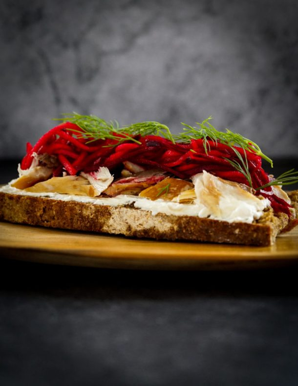 Open Sandwich with Smoked Mackerel and Pickled Beetroot