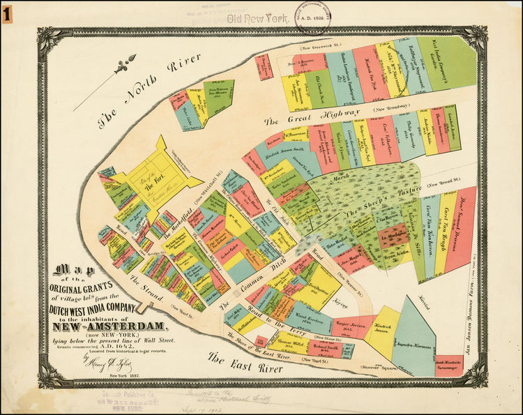 1897 Map Depicts Original Lot Grants in New-Amsterdam