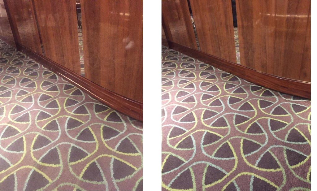 Before and after skirting board repairs