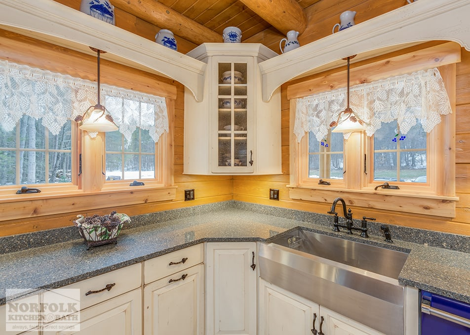 Log Cabin Kitchen With Blue Appliances Norfolk Kitchen