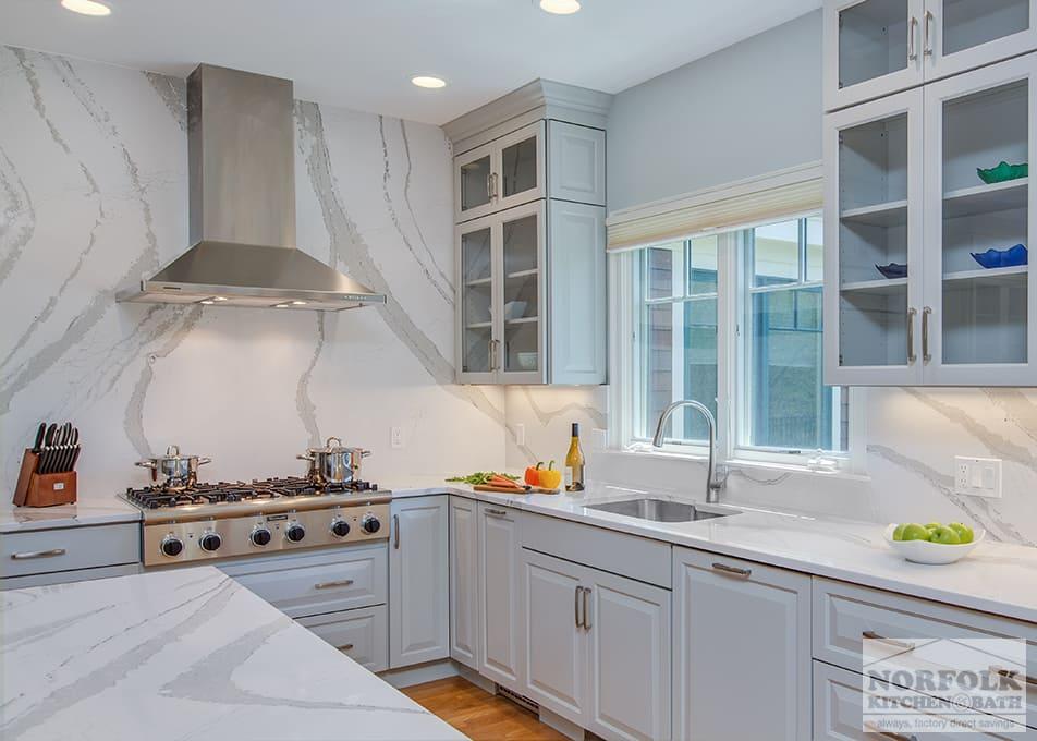 Grey Showplace Kitchen With Full Height Backsplash