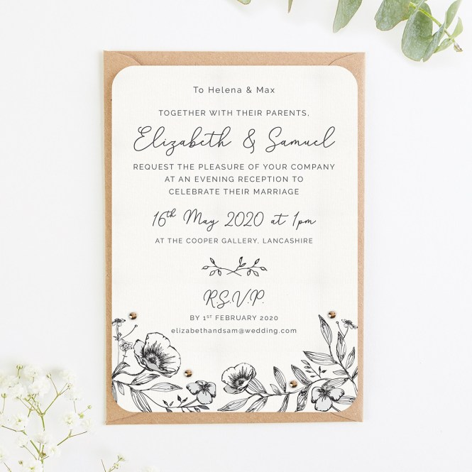 Monochrome Fl Evening Wedding Invite