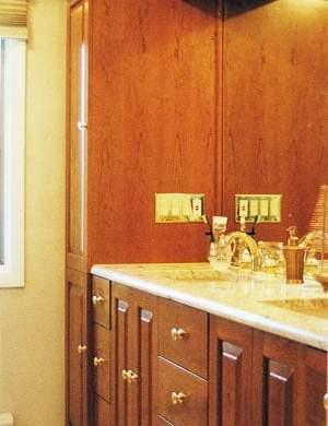 Custom bathroom vanity and linen closet