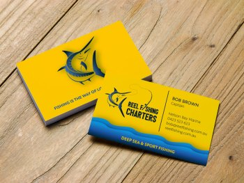 Logo illustration Marlin - business cards - Newcastle, Port Stephens, Hunter