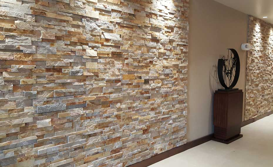 Interior Stacked Stone Veneer Wall Panels   Interior Stone Cladding Gold Stacking Ledgestone Panel Veneer Used on Walls of Hampton Inn Hotel in  Florida