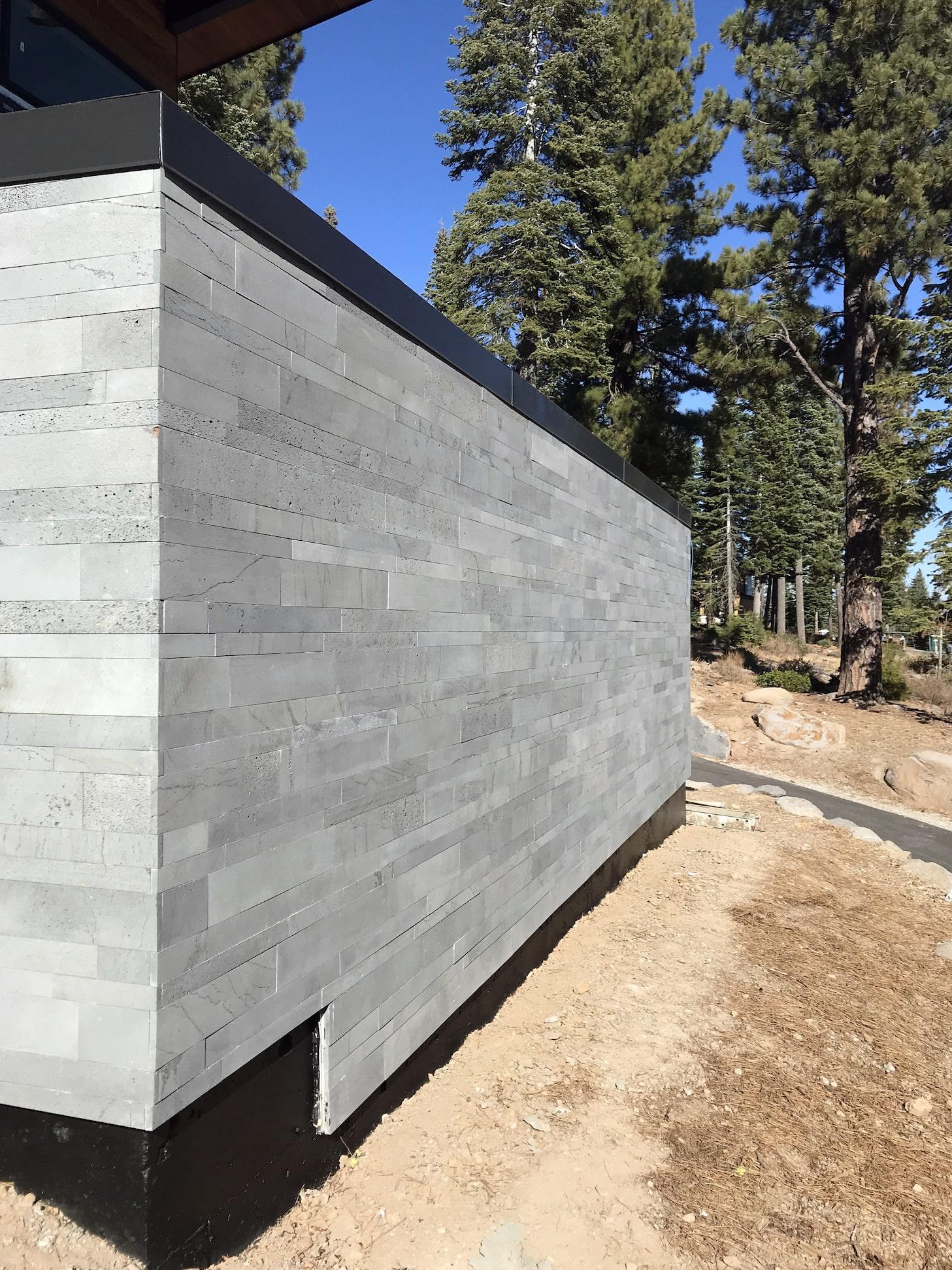 planc large format tile on hillside home