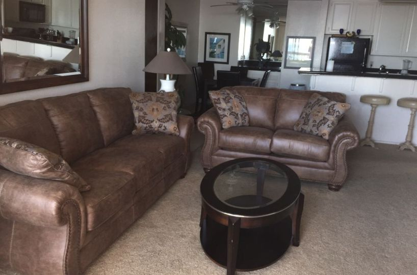 A-201 leather sofa, love seat and coffee table