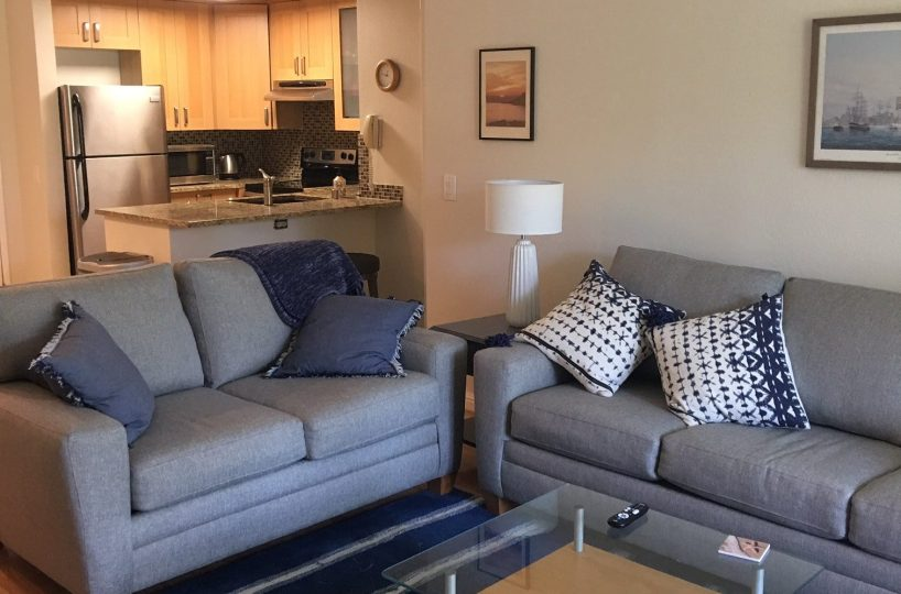 F-106 Sleeper Sofa and Love Seat, coffee table and Kitchen