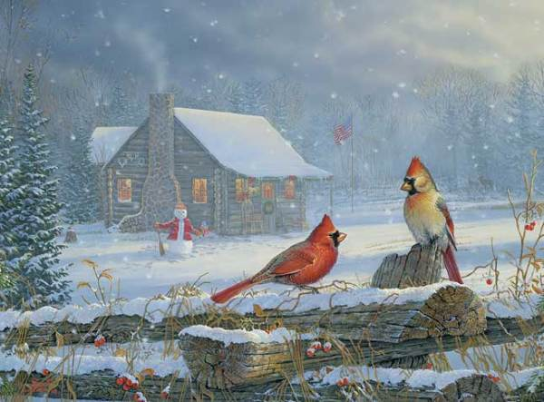 SNOWY CABIN CARDINALS by Sam Timm on PopScreen