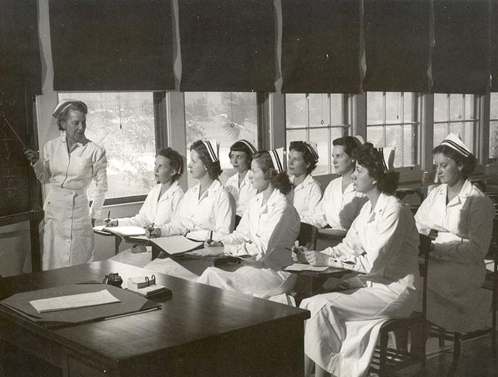 Navy nurses attending class, 1940s. Image courtesy US Navy