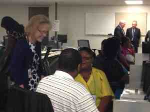 Secretary Aldona Wos visited NC Tracks call center in June, before the system launched on July 1. Photo courtesy NC DHHS.