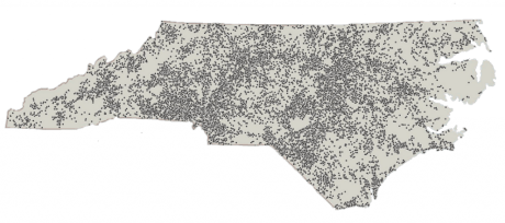 Each dot on the map represents the home address of clients who received transitional home care from CCNC during their study.