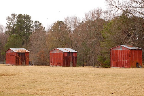 fallow fields and barns