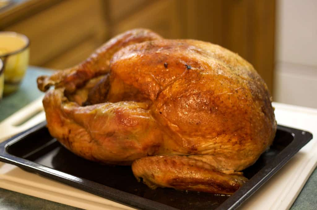 shows a fully cooked turkey sitting on a counter, all brown and delicious looking!