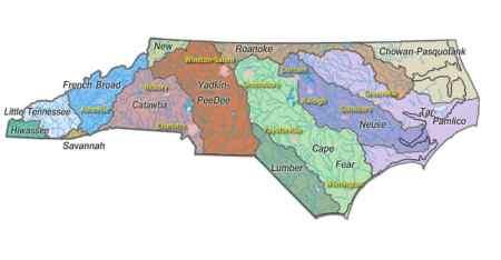 North Carolina watersheds. Image courtesy USGS