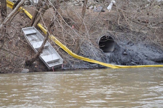 A ruptured storm water pipe was quickly identified as the source of the coal ash