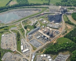 This is an aerial shot of the Dan River Steam Station