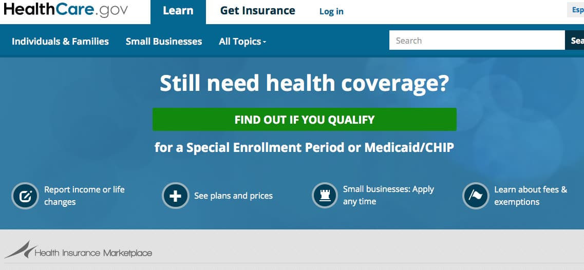 screen shot of the home page for healthcare.gov