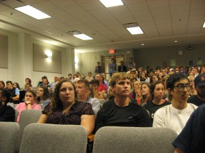 A capacity crowd of several hundred at the UNC-Chapel Hill School of Public Health listened intently to presentations on Ebola last week. Photo credit: Rose Hoban
