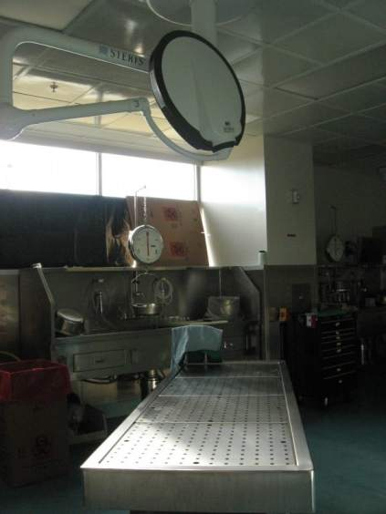 An autopsy table at the facility run by the State Medical Examiner. For years, North Carolina has lacked enough forensic pathologists to do all of the autopsies needed in the state, the pathologists at the medical examiner's office were doing twice the recommended number of procedures annually in order to keep up.