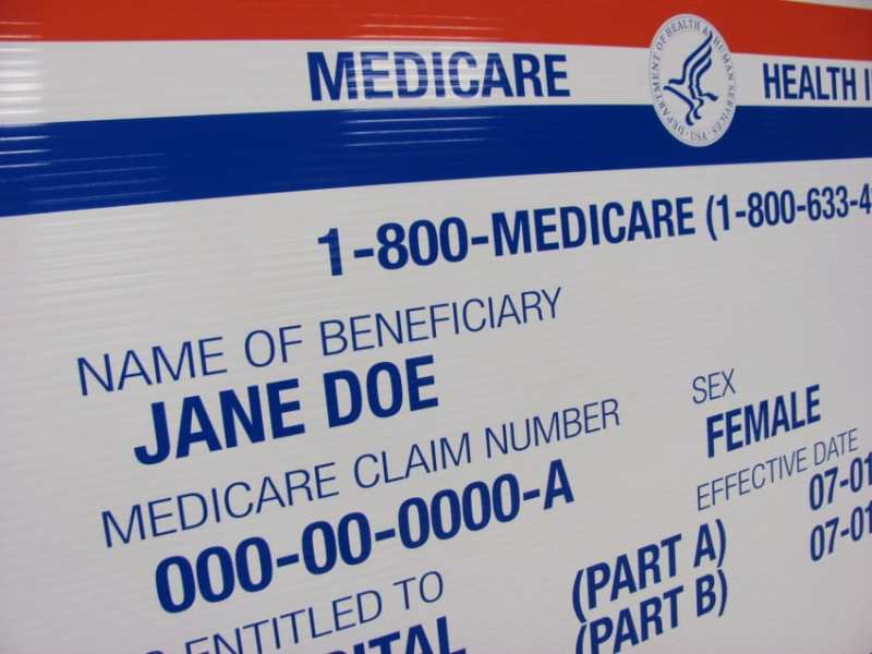 shows the front of a Medicare card