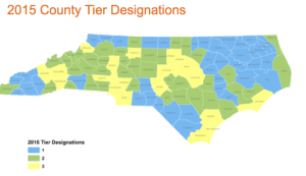 The N.C. Department of Commerce annually ranks the state's 100 counties based on economic well-being and assigns each a Tier designation. The 40 most distressed counties are designated as Tier 1, the next 40 as Tier 2 and the 20 least distressed as Tier 3.