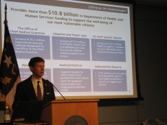 State Budget Director Lee Roberts outlines Gov. Pat McCrory's health and human services budget. This is Roberts' first state budget.